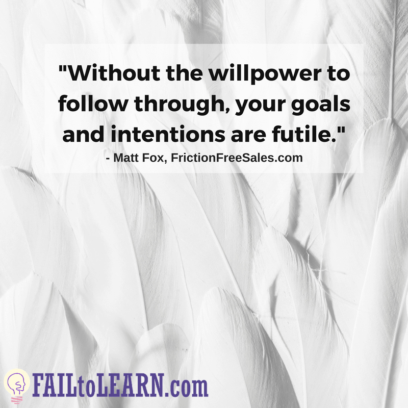 Without the willpower to follow through, your goals and intentions are futile. - Matt Fox